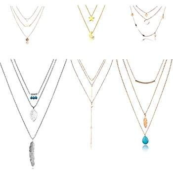 HYZ Boho Layered Necklace Pendant Moon Star Turquoise Feather Coin Chain Girls Women Jewelry Set (pack of 6) KGk3n1e74f