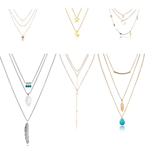 HYZ Boho Layered Necklace Pendant Moon Star Turquoise Feather Coin Chain Girls Women Jewelry Set (pack of 6)