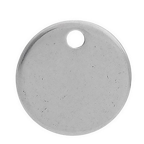 VALYRIA 20pcs Polished Stainless Steel Round Charm Pendant Stamping Blanks Tags 10mm - (143 Blank)