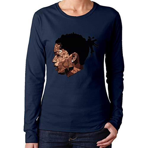 Women's Jonnert ASAP Rocky Logo Round Neck Long Sleeve Personality Navy S