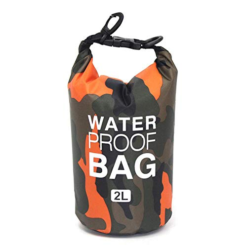 2/5/10 / 15L Outdoor Camouflage Waterproof Dry Bags Portable Rafting Diving Dry Bag Sack PVC Swimming bags for River Trekking,2L orange