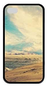 beach sunset TPU Black Case for iphone 4S/4