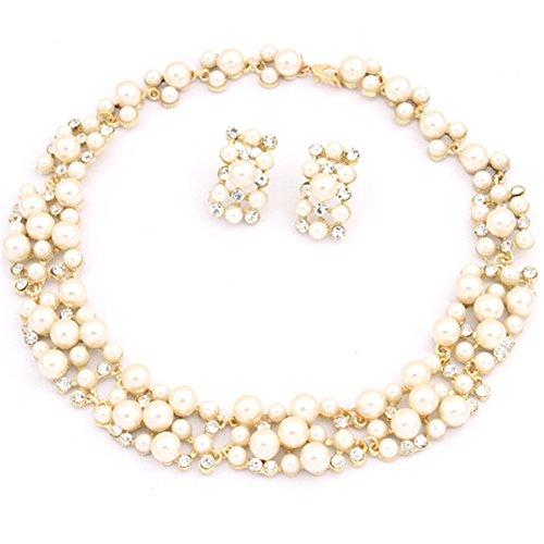 SODIAL(R) Fashion Imitation pearl Women necklace Earring set - Imitation Tiffany