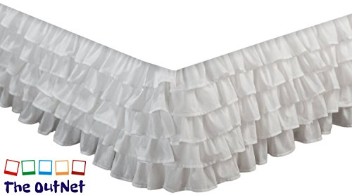 TheOutNet Collection Egyptian Cotton 750TC 1 Piece Multi Ruffle Bed Skirt Twin Size 11'' Inch Drop Length White - White Drop Twin 11'