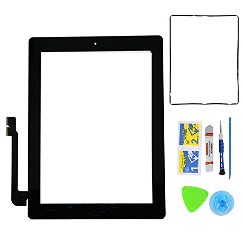 Monstleo New Black Digitizer Touch Screen Front Glass Assembly For iPad 3 - Includes Home Button + Pre-Installed Adhesive with tools kit for iPad 3 3rd Gen Touch (Open Frame Lcd Display Panel)