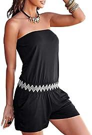 Joe Wenko Womens Crewneck Stylish Drawstring Pockets Striped Sleeveless Short Jumpsuit Romper