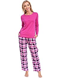 Patricia Women's Pajama Combo Set with Knit Henley Top and Flannel PJ Pants