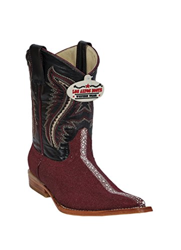 Kid's 3X-Toe Burgundy Genuine Leather Stingray Rowstone Print Western (Ray Western Print)