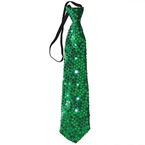 Mammoth Sales LED Light Up Flashing Sequin Party Ties (Green / Green Lights)