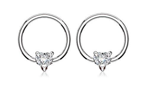 Pierced Owl 14GA CZ Crystal Heart Captive Bead Nipple Rings (Silver Tone/Clear)