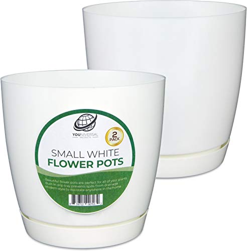 Small White Plastic Flower Pot (2 Pack)
