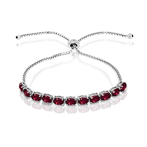 Oval Cut Created Ruby (Sterling Silver Created Ruby 6x4mm Oval-cut Adjustable Tennis Bracelet)
