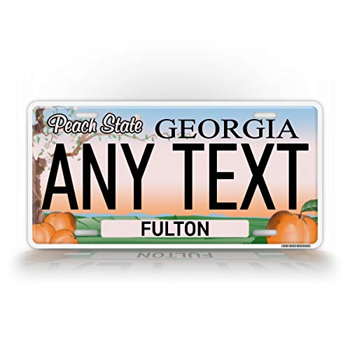 SignsAndTagsOnline Custom Georgia Peach State License Plate GA Replica Personalized Text Novelty Auto Tag ()