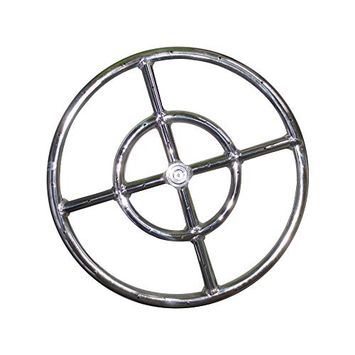 """Meter Star 12"""" Round Fire Pit Burner Ring 1 Set, 304 Series Stainless Steel, BTU 92,000 Max,Propane Fire Pit Ring Burner,Fire Pit Round Burner"""