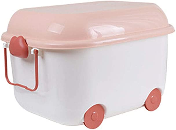 Cajas de almacenamiento para niños con tapas, Organizador de juguetes de plástico para niños Cajas de almacenamiento de juguetes para niños Cofre de juguetes para ropa Juguetes Libros Rosado (15L): Amazon.es: Hogar