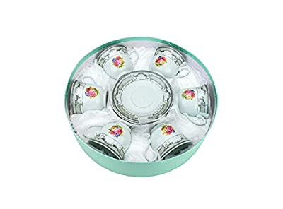 Set of 12 pcs Set Silver Floral Design Tea Cup & Saucer Set -Service for 6 with Gift Box