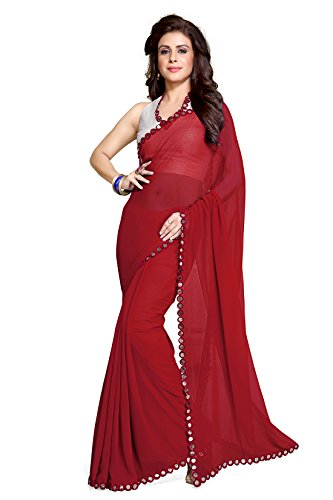 Mirchi Fashion Women's Mirror Border Latest Traditional Party Indian Saree Red