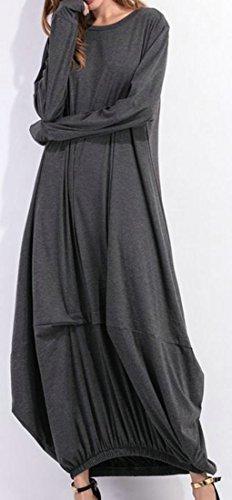 Cruiize Womens Manches Longues Ras Du Cou Uni Lâche Robe Longue Automne Gris Foncé