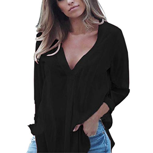Clearance Women Tops LuluZanm Chiffon Shirts Long Sleeve Casual Tops Brief Office Work Wear V-neck T-Shirt