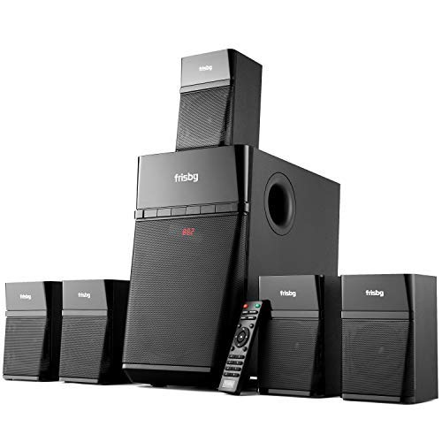 Frisby Home Theater 5.1 Surround Sound System with Subwoofer, Bluetooth Wireless Streaming from Devices & Media Reader, FM Radio, Digital Optical Output - Black