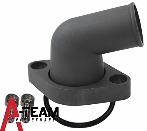A-Team Performance SBC BBC CHEVY 15° SWIVEL BLACK WATER NECK THERMOSTAT HOUSING 283 302 305 327 350 383 396 427 454 (Aluminum Water Pump Housing)