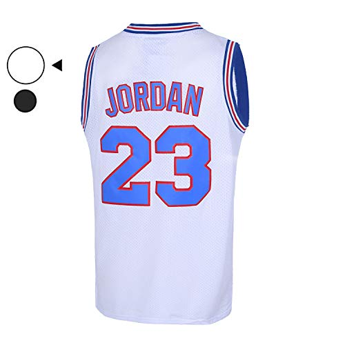 EMERPUS Mens 23# Space Movie Jersey Basketball Jersey S-XXL White/Black (White, Medium)