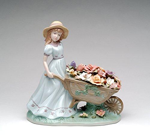 Cosmos Gifts 96491 Fine Elegant Porcelain Girl Pushing Flower Wagon Cart Figurine, 8-3/4