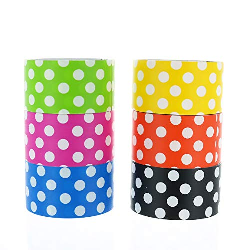 GIFTEXPRESS 6pk Assorted Colored Duct Tapes, Polka Dot Duct Tapes - Multi Purposes Bright Colors Tapes Great for DIY Decorative Art and Craft Home School Office 2