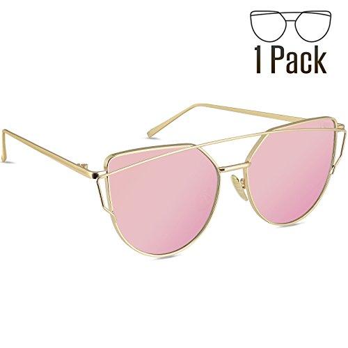 Livhò Sunglasses for Women, 2 Pack Cat Eye Mirrored Flat Lenses Metal Frame Sunglasses UV400 - 10 Under Sunglasses