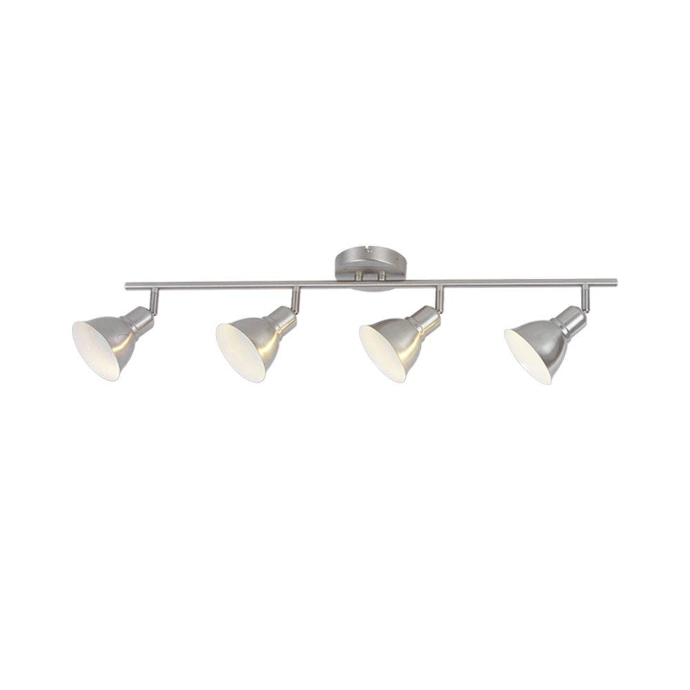 4-Light Adjustable Track Lighting Kit, Brushed Nickel Finish, GU10 Halogen Bulbs Included