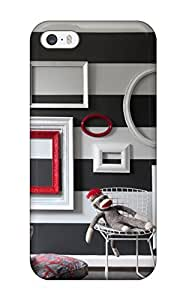 Jamella Perfect pc Case For Iphone 5/5s/ Anti-scratch Protector Case (empty Picture Frames Painted Vibrant Red And White Are Wall Art)