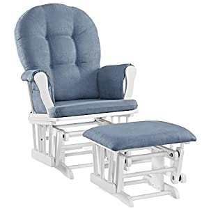 Angel Line Windsor Glider and Ottoman Set, White with Blue Cushion