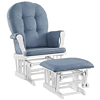 Image of Home and Kitchen Angel Line Windsor Glider and Ottoman Set, White with Blue Cushion