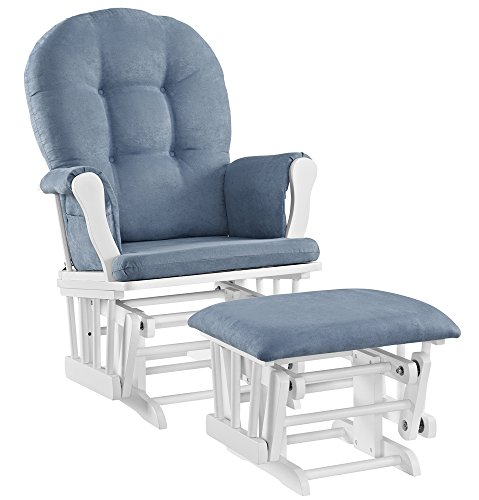 Angel Line Windsor Glider and Ottoman Set, White with Blue Cushion by Angel Line