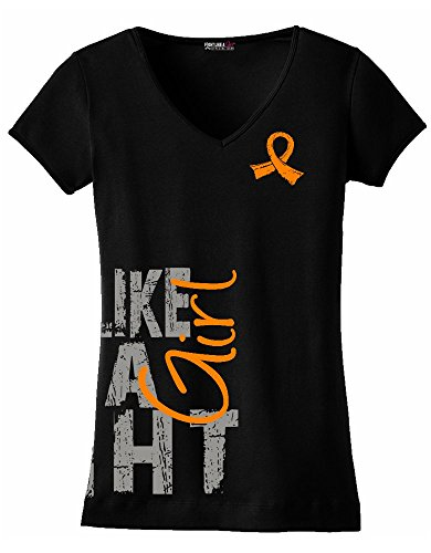 Fight Like a Girl Side Wrap Leukemia, Kidney Cancer, Skin Cancer Awareness Ladies V-Neck T-Shirt - Black w/Orange [XL]