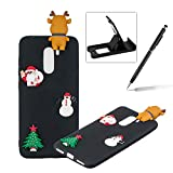 TPU Case for Xiaomi Pocophone F1,Soft Rubber Cover for Xiaomi Pocophone F1,Herzzer Ultra Slim Stylish 3D Christmas Santa Claus Deer Series Design Scratch Resistant Shock Absorbing Flexible Silicone Back Case - Black