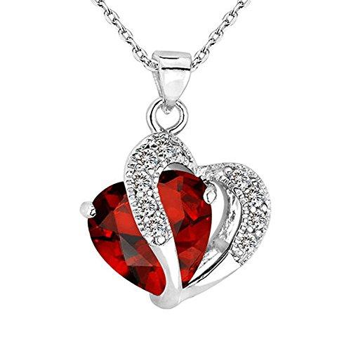 [Bling Stars Swarovski Element Crystal Accent January Birthstone Garnet Heart Shaped Pendant Necklace] (Garnet Swarovski Austrian Crystal)