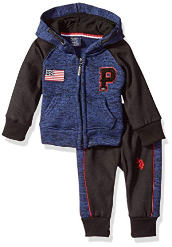 U.S. Polo Assn. Baby Boys Fleece Jog Set, Cut Sew Panel Sleeves Navy, 24M