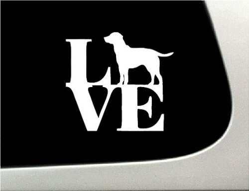 LOVE Labrador Retriever Dog Puppy Text Vinyl Car Sticker Symbol Silhouette Keypad Track Pad Decal Laptop Skin Ipad Macbook Window Truck Motorcycle (Symbol Text Puppy)