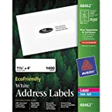 Avery EcoFriendly Labels, 1-1/3 x 4, White, 1400/Pack