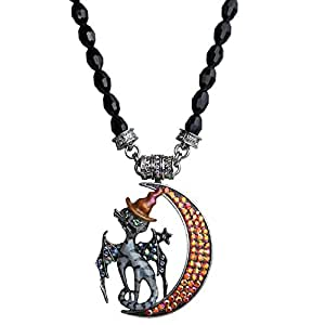 Kirks Folly Midnight Magic Cat Crescent Moon Magnetic Enhancer & Necklace Silvertone/Jet