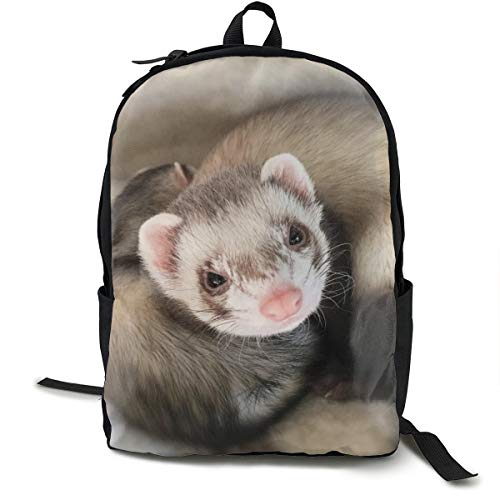 Special Cute Ferret Backpck With Smooth Zippers, Camping Outdoor Backpack Big Capacity School Shoulder Book Bags Anti-Theft Multipurpose Shoulder Bag ()