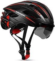 Casco Bicicleta para Hombres y Mujeres, Shinmax Casco de Bicicleta Adultos con Luz de Carga Usb y Gafas Magnét
