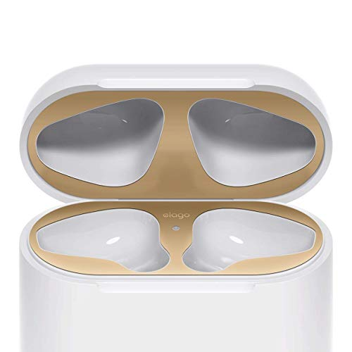 elago Dust Guard for AirPods [Matte Gold][2 Sets] - [18K Gold Plating][Protect AirPods from Iron/Metal Shavings][Luxurious Looking][Must Watch Installation Video]