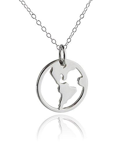 Sterling Silver World Globe Pendant Neck - Silver Sterling Silver Globe Shopping Results