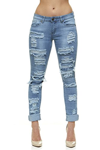 Juniors Blue Jeans - V.I.P.JEANS Women's Distressed Skinny Ripped Jeans, Light Wash, 15