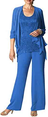 2dda7df3dee Fitty Lell Women s Chiffon Mother of The Bride Pant Suits Long Sleeves  Wedding Mothers Guest Dress