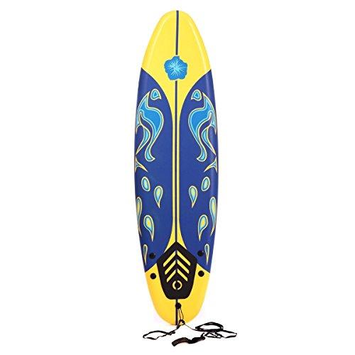 LAZYMOON 6 Ft Soft Foam Surfboard Sport Surf Board Surfing Beach Ocean Hobby, (Foam Surfboard)