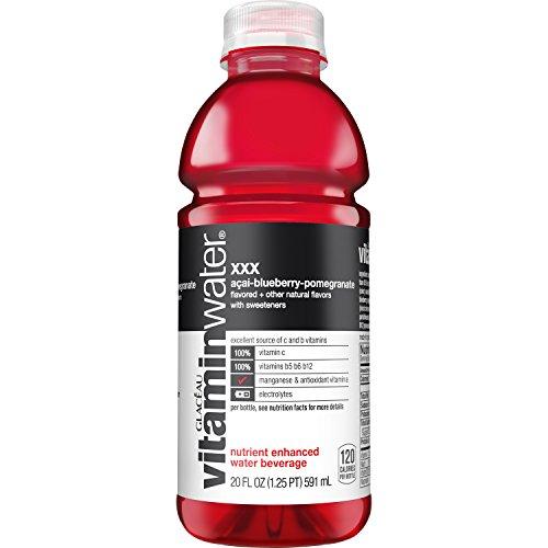 vitaminwater xxx, electrolyte enhanced water w/ vitamins, açai-blueberry-pomegranate drink, 20 fl oz