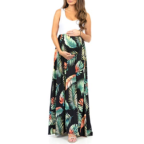 Women's Sleeveless Ruched Color Block Maxi Maternity Dress - Made in USA (Maternity Clothes Dresses)
